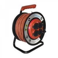 Удлинитель на катушке Electraline с фиксированным блоком на 4 розетки с прорезиненным медным кабелем RNF сечением 3х1,5 мм2, длиной 40 метров с защитой от детей и от перегрузки, с заземлением.
