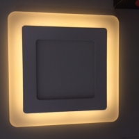 Светильник светодиодный ультратонкий с цветной  подсветкой, квадратный,  3+2W,TruEnergy 10271 Желтый