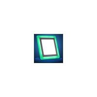 Светильник светодиодный ультраткий с цветной  подсветкой, квадратный 6+3Вт 4000К